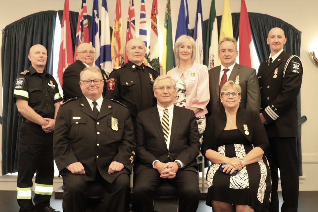 Front Row (left to right): Ross Reaburn, His Honour the Honourable Chief Justice Robert G. Richards, Bonnie Prime  Back Row (left to right): Cary Serviss, Bert Kauf, Kim Bennett, Christine Jazen, Trent Wilson, and Faron Nakaska